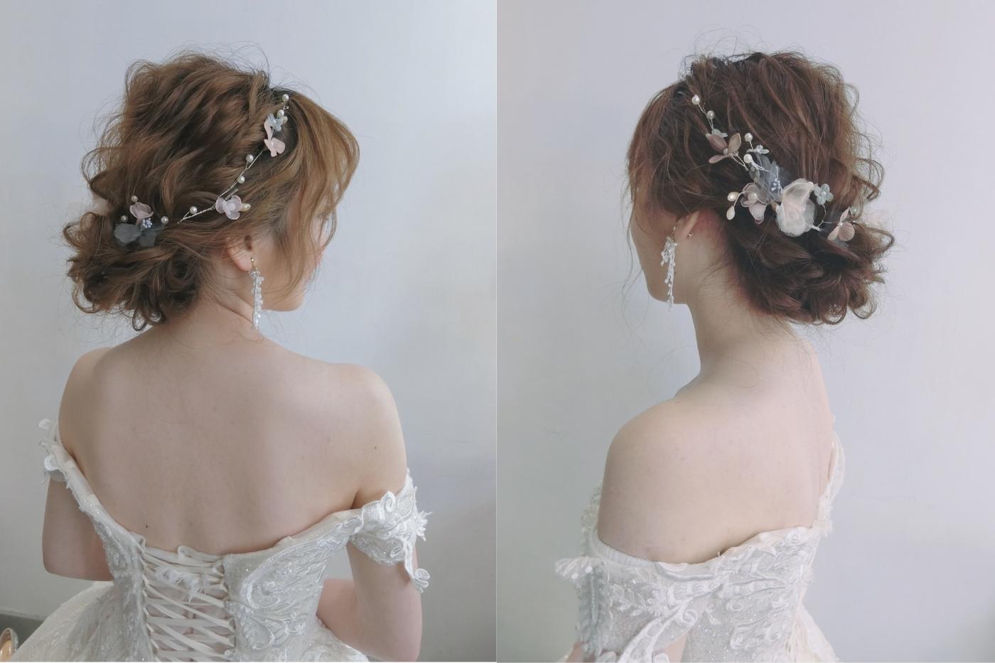 台北新娘秘書|新娘秘書推薦|台北新秘雨晴|新娘結婚髮型|白紗造型|低盤髮造型|編髮|輕柔感新娘|氣質妝感|無害眼妝|清透清新妝容|