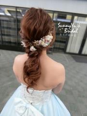 低馬尾造型|乾燥花髮飾|新娘髮型|新娘造型