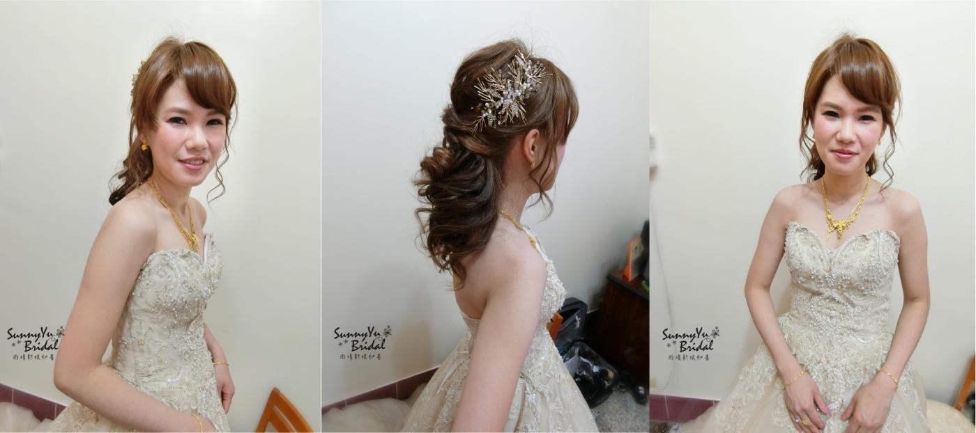 嘉義新娘秘書|嘉義新秘推薦|氣質造型|清新妝感|敬酒二進造型|乾燥花造型|公主頭造型|編髮造型|金色禮服