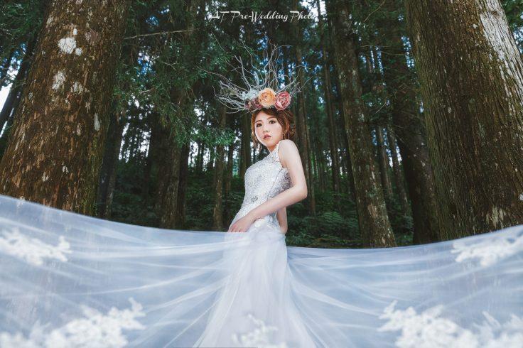 婚紗造型|新娘妝容|花頭飾|白紗|台北新秘|新秘雨晴|AT Photo|EASTERN WEDDING