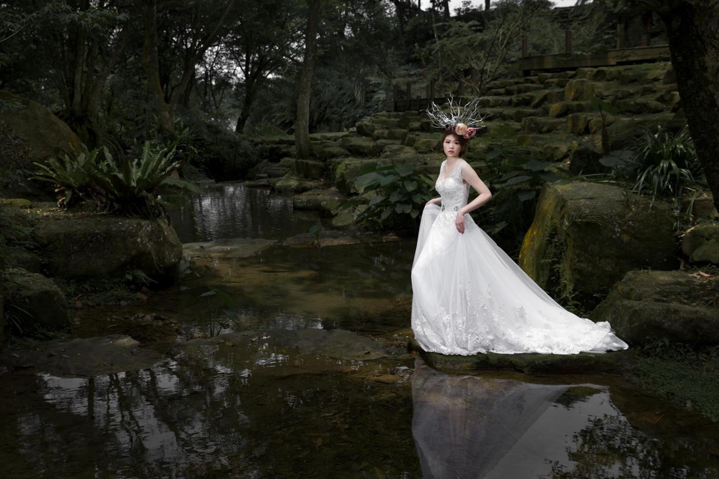 婚紗造型|新娘妝容|花頭飾|白紗|台北新秘|新秘雨晴|陸壹肆影像工作坊|EASTERN WEDDING