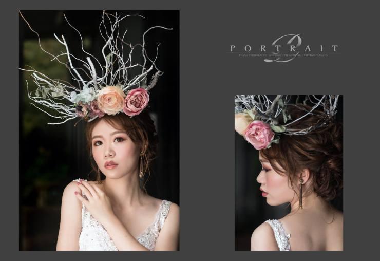 婚紗造型|新娘妝容|花頭飾|白紗|台北新秘|新秘雨晴|婚攝PInkY|EASTERN WEDDING