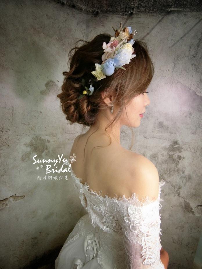 嘉義新秘|台北新秘|內湖新秘|新娘秘書雨晴|白紗|新娘髮型|新娘妝容|甜美|夢幻|柔美|乾燥花髮飾