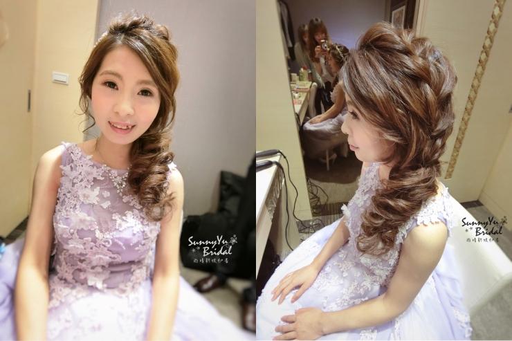 結婚新娘造型|嘉義新秘推薦|新娘秘書|新娘秘書推薦|雨晴新娘秘書|新娘髮型|送客造型|淺紫色禮服|側邊造型|拉絲髮型|氣質|編髮|空氣感髮型|結婚髮型