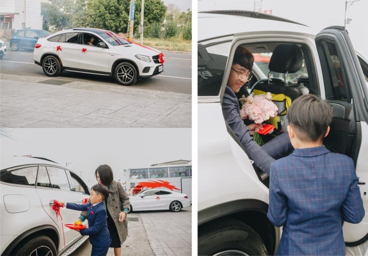 台北新秘推薦|新娘秘書雨晴|婚禮攝影平面紀錄|七囍|GTpeng|迎娶車隊|新郎下車