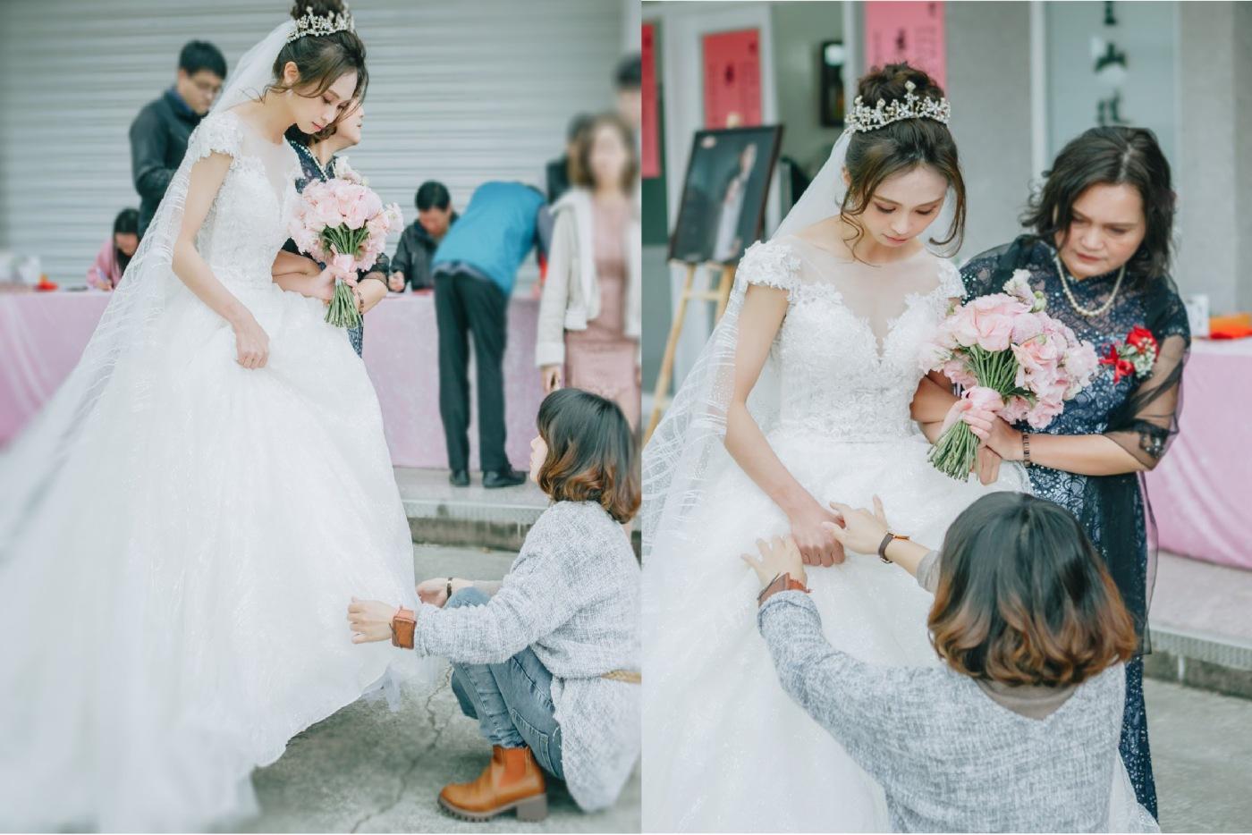 台北新秘推薦|新娘秘書雨晴|婚禮攝影平面紀錄|七囍|GTpeng|時間安排|結婚流程|白紗裙擺