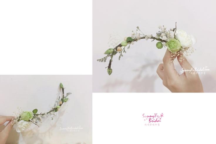 鮮花花環|新秘雨晴SunnyYu|白紗鮮花造型|清新白綠色花環|