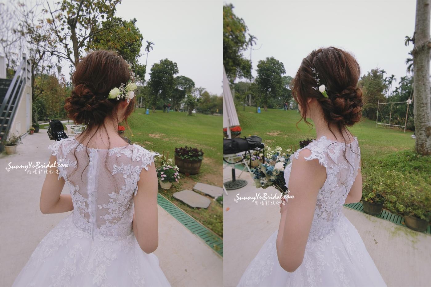 西式婚禮|戶外證婚|戶外婚禮|證婚新娘妝髮|鮮花花環|新秘雨晴SunnyYu|幸福山丘|白紗造型|白紗鮮花造型|編髮造型|盤髮造型|清新白綠色花環|新娘髮型|