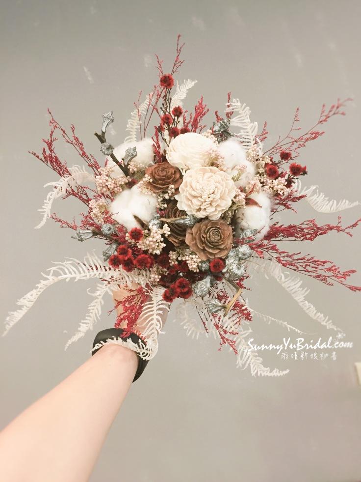 乾燥捧花 新娘捧花 台北新娘秘書 紅色捧花 紅白色乾燥捧花 求婚捧花 客製捧花