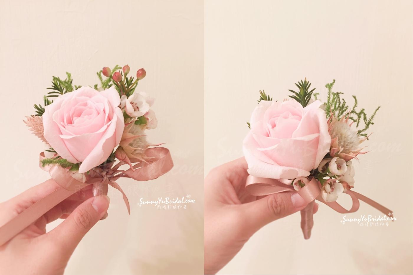 新娘捧花|客製圓形捧花|柔和色系捧花|胸花|主婚人胸花|新郎胸花|台北新娘秘書推薦|雨晴新娘秘書|雨晴手作