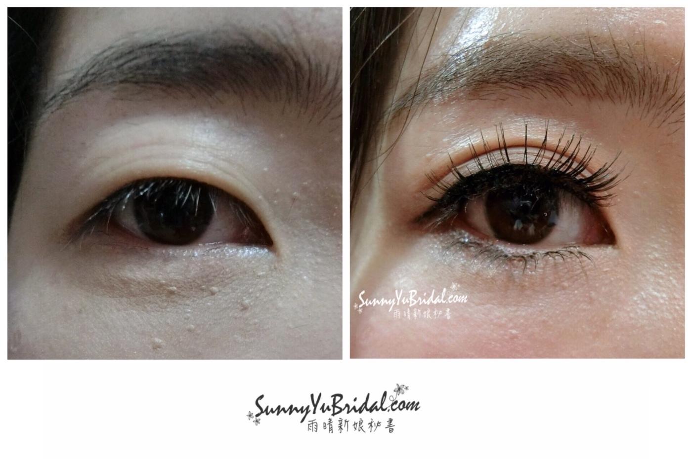 新娘妝容|新娘精緻眼妝|眼型調整|清透乾淨眼妝|根根分明睫毛|仿真下睫毛|眼妝前後比對|單眼皮眼妝