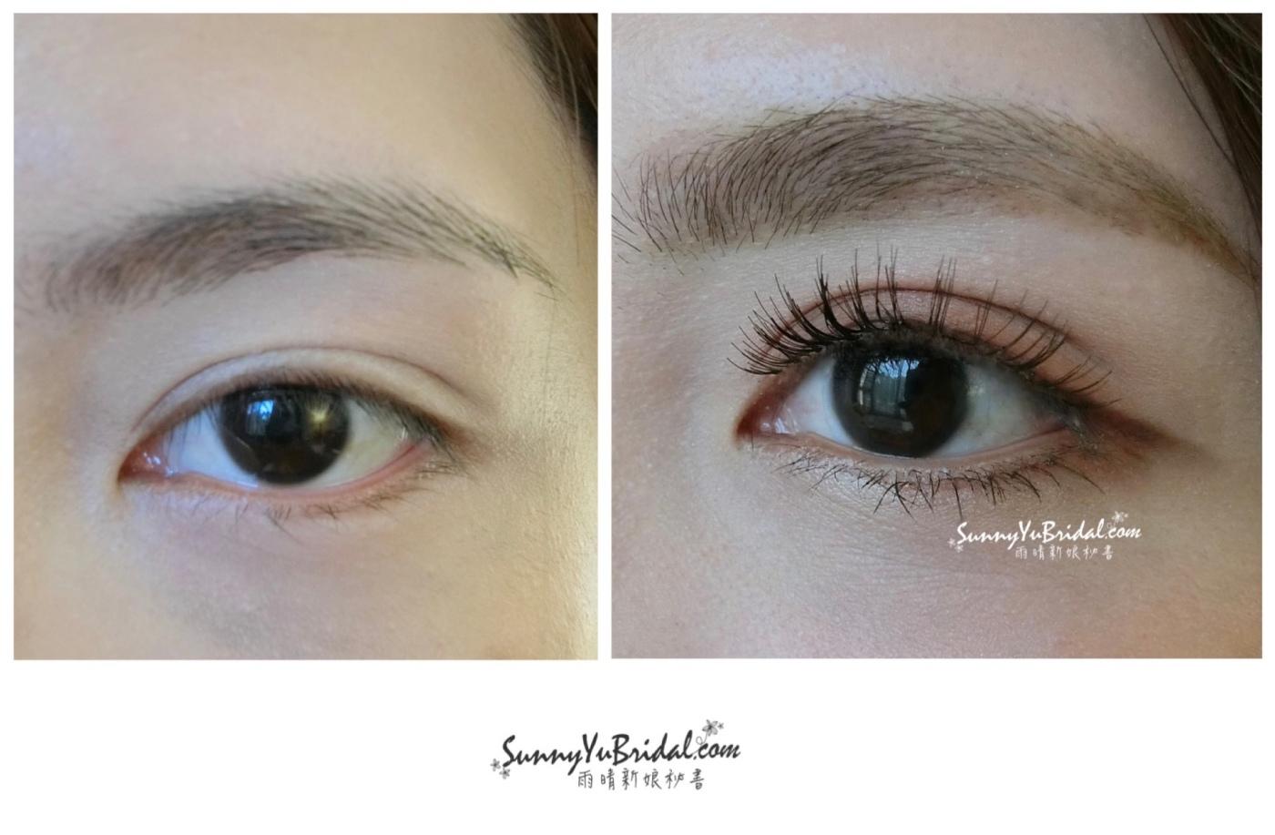 新娘妝容|新娘精緻眼妝|眼型調整|清透乾淨眼妝|根根分明睫毛|仿真下睫毛|眼妝前後比對|雙眼皮眼妝