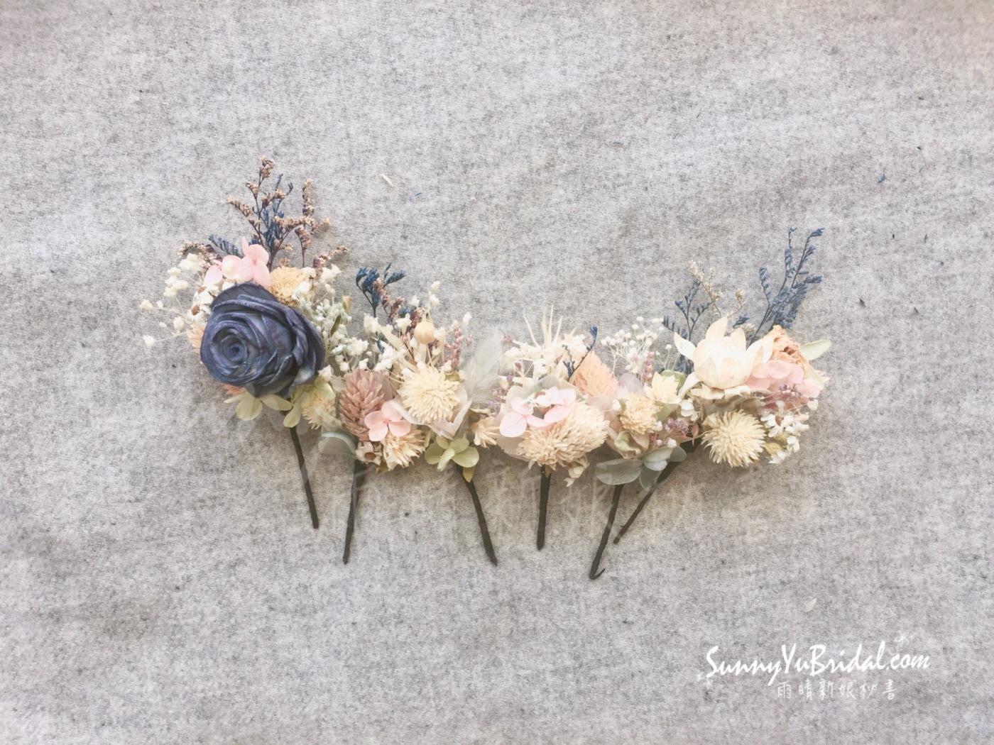 客製乾燥花飾|客製新娘飾品|台北新娘秘書|台北內湖南港新秘推薦雨晴|手作新娘飾品|雨晴手作|乾燥不凋花新娘飾品|乾燥花新娘造型|雨晴手作乾燥花飾|煙燻粉玫瑰|不凋花|永生花|白紗髮飾|白紗造型
