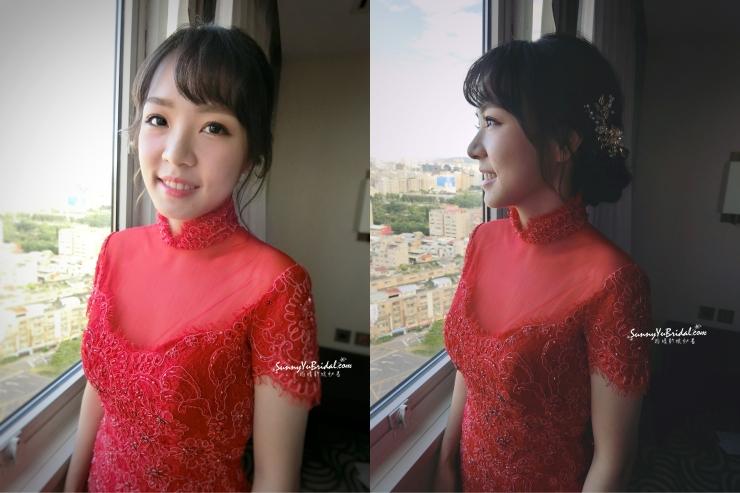 文定妝髮|台北新娘秘書|新秘推薦|新秘雨晴|林莉婚紗|君悅酒店|紅色禮服||妹妹頭新娘造型