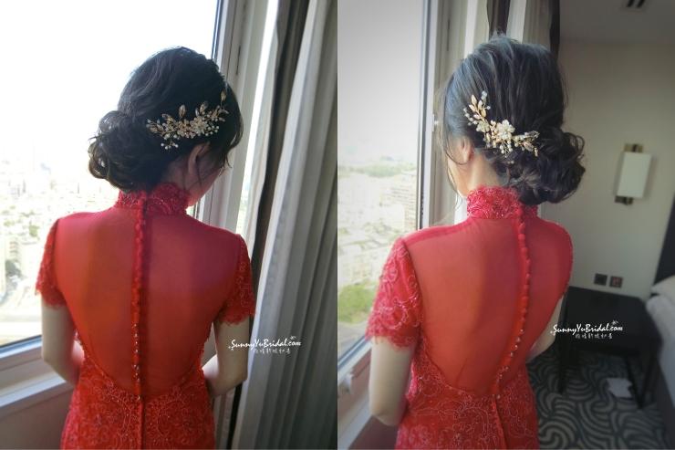 文定妝髮|台北新娘秘書|新秘推薦|新秘雨晴|林莉婚紗|君悅酒店|紅色禮服|新娘造型|訂婚妝髮|好媳婦髮型|盤髮造型|黑髮造型
