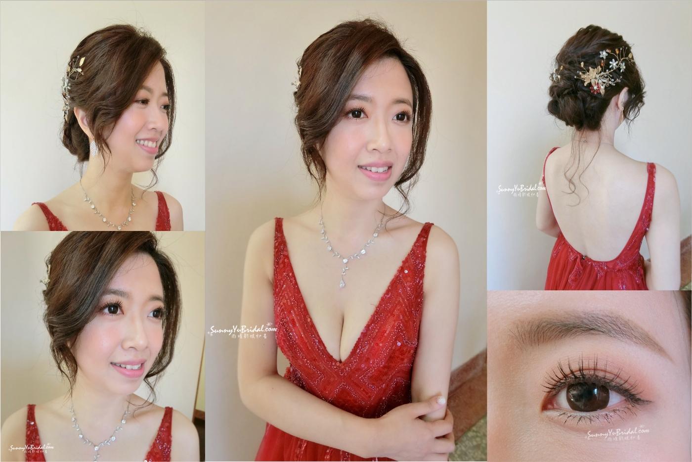 空靈妝感|氣質妝感|台北新秘|台北新娘秘書|新秘推薦|雨晴新娘秘書|新娘造型|新娘妝感|紅色禮服|眼妝特寫|盤髮|新娘髮型