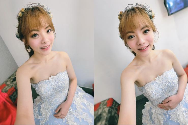 新娘妝髮|新娘秘書推薦|日系甜美新娘|仙氣新娘|日系髮型|送客造型|水藍色禮服|乾燥花花飾|手作乾燥花圈