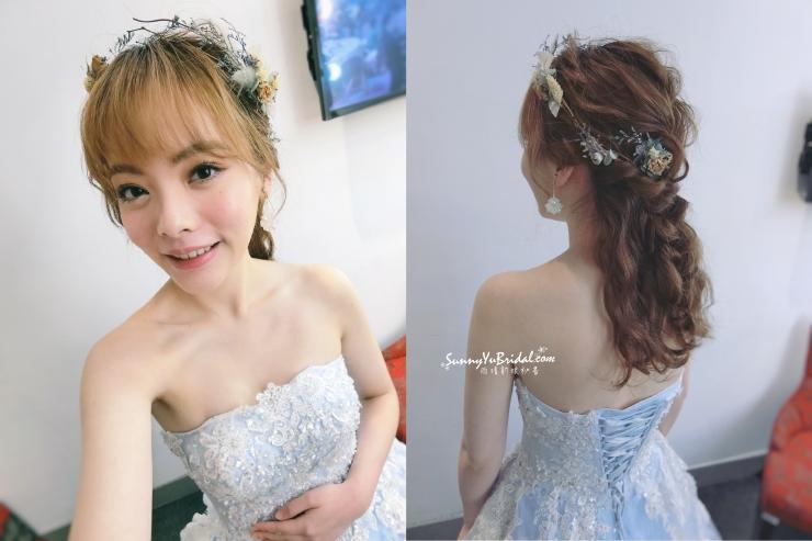 新娘妝髮|新娘秘書推薦|日系甜美新娘|仙氣新娘|日系髮型|送客造型|水藍色禮服|乾燥花花飾|手作乾燥花圈|編髮造型